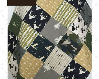 Camo Baby Quilt, Camo Baby Blanket, Camo Baby Quilt, Hunting Baby Bedding, Dogs and Ducks Crib Bedding, Crib Bedding Dog, Wild at Heart