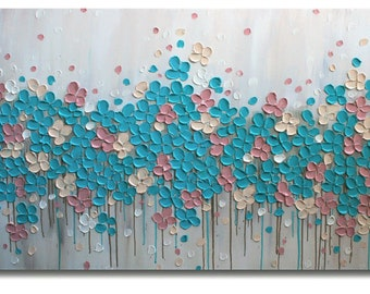 Original  Modern Blue Pink   Flowers Heavy Impasto   Textured  Palette Knife   Painting.