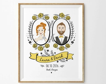 Custom Portrait Art, Couple Portrait, Anniversary Art Print,  Anniversary Gift, Wedding Gift - Unframed