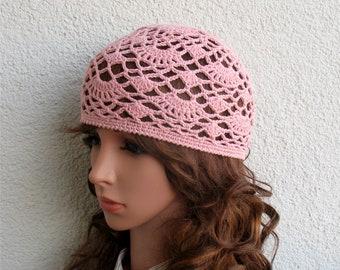Women's Crochet Summer boho hat Girls summer hat Light Pink summer skull hat 100% soft cotton tams hat tight Women's Summer beret Adult hat