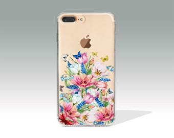 iPhone 7 Case Floral iPhone 7 Plus Case iPhone 7 Case Clear iPhone 6 Case iPhone 6s Case Silicone iPhone Case Christmas Gift for Her //329