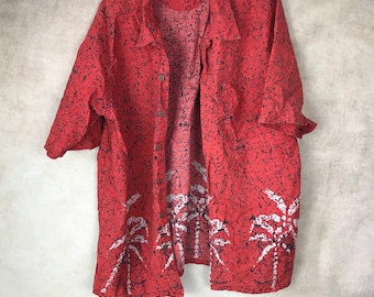 Vintage Men's Hawaiian Shirt - Button Up - Size Large - Black - Palm Tree - Hawaiian Shirt - Tee - Paint Splattered