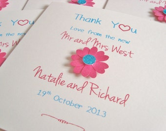 Personalised Wedding Thank You Cards (Pack of 10) Daisy/Gerbera/Flowers