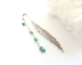 Feather Bookmark, Boho Tribal Feather Bookmark, Metal Bookmark, Beaded Bookmark, Books and Zines, Turquoise Bookmark. B293