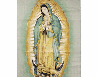 large VIRGIN OF GUADALUPE fabric rectangle print banner