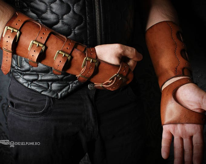 Leather Bracer - Steampunk Hand Armor - Leather Armor - Hand Armour