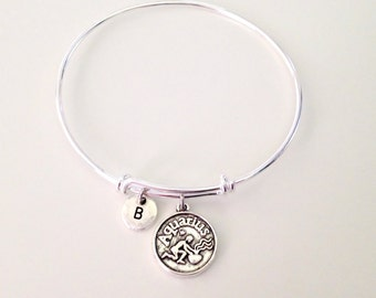 Aquarius Silver Bangle Bracelet Zodiac Birthday Expandle Bracelet