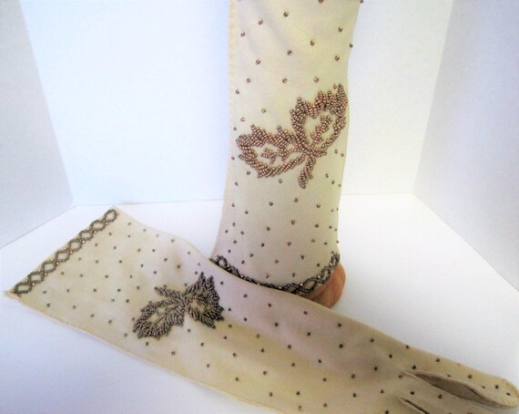 Bronze Beaded Gloves,  Long Length,  14 inch finger to wrist,  Mid Arm