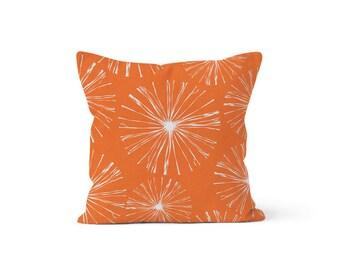 Orange Dandelion Pillow Cover Spark - Sparks Monarch - Lumbar 12 14 16 18 20 22 24 26 Euro - Hidden Zipper Closure