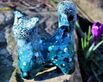 Little cat, ceramic cat, pottery cat, cat sculpture, blue cat, ceramic figurine, ceramic animal, animal sculpture, cat, figurine, handbuilt
