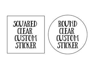 Transparent Labels, Clear Labels, Custom Transparent Labels, Round Labels, Squared Labels, Etsy Packaging, Etsy Supplies