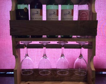 Wine rack with wine glass holder