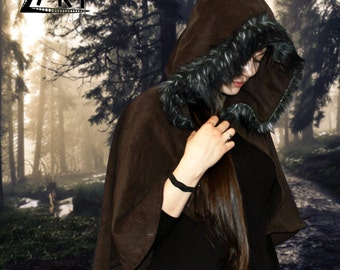 "Fantasy Medieval Hooded Cape with wide hood hemmed with ""wolf"" faux fur. For LARP and Reenactment. Made to order in different colors."