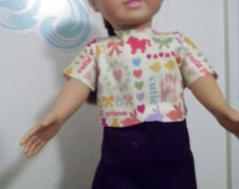 "18"" doll Cordoroys with Princess print top360E"