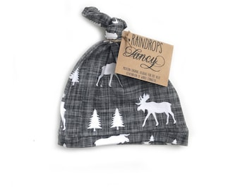 Gray Moose Knotted Hat