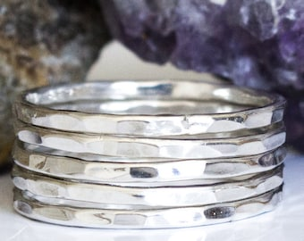 Silver Stack Ring Set - 5 Band Sterling Ring Set Simple Silver Rings Hammered Silver Ring Sterling Silver Bands 5 Sterling Bands Thumb Rings