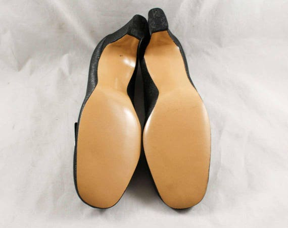 Black 47874 1 with Secretary Shoes 6 Style Tone Mod Sleek Deadstock Very NOS Minimalist Buckle 1960s Pumps Silver Glossy Size 60s RC05wxHwq