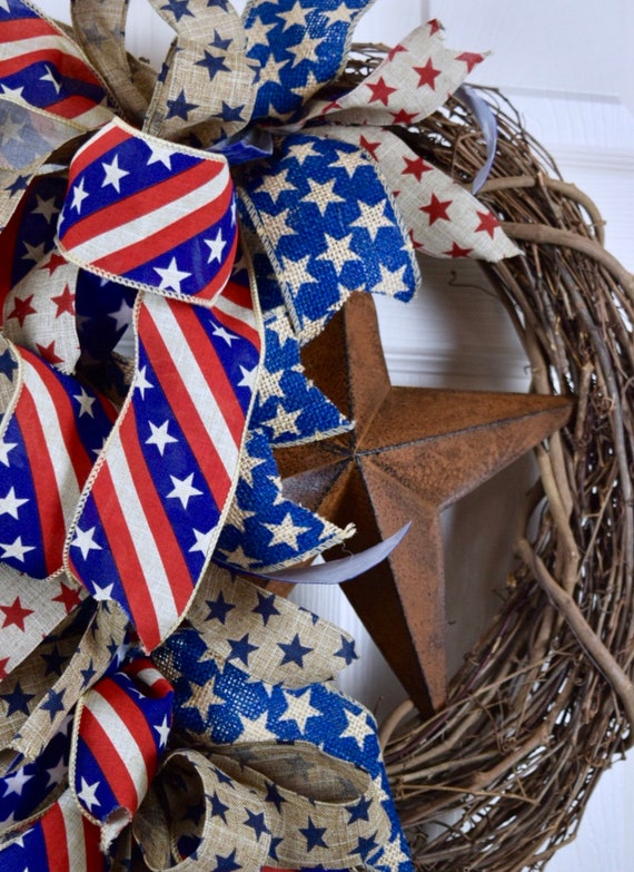Rusty Tin Star Patriotic Bows Grapevine Wreath; Country Primitive Rustic Americana Door Decor Wreath; Fourth of July Memorial Day Labor Day