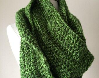 Green Crochet Infinity Scarf