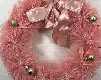 Mid Century PINK Bottle Brush Wreath with Ornaments, Pink Bow and Light Silver Flocking - BEAUTIFUL