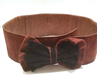 Vintage belt with bow black/lining leather/good condition/vintage/80's brown suede