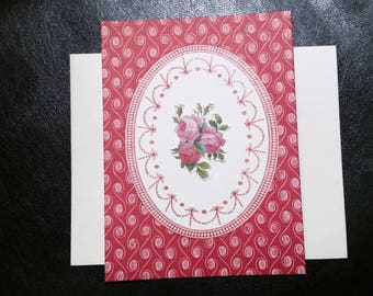 Pink & Red Victorian Rose Hand Designed Greeting Card
