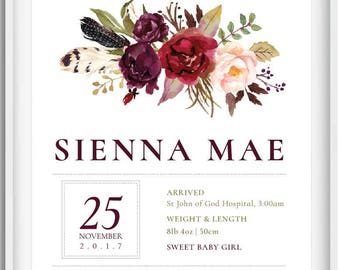 Personalised Birth Print | Sienna