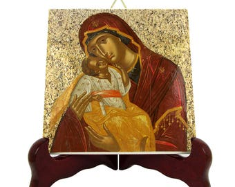 Christian gifts - Our Lady of Tenderness - religious icon on ceramic tile - Virgin Mary icons by TerryTiles2014