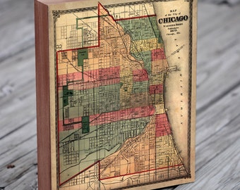 Chicago Vintage Map - Chicago Map Art - Chicago Map Print - Map of Chicago - City Map Chicago