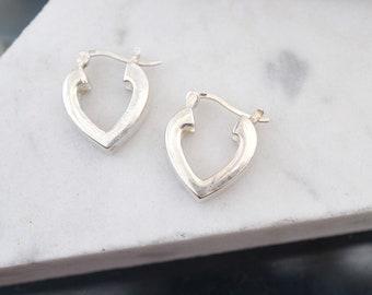 Sterling Silver Small Heart Hoop Earrings, Heart Shaped Hoop Earrings, Simple Sterling Hoops, Pointed Hoop Earrings, Heart Earrings