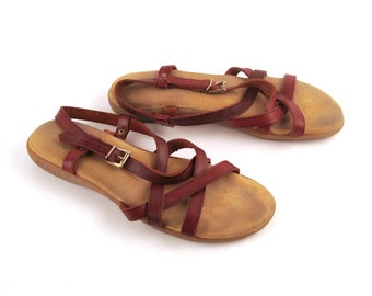Bass Sunjuns Sandals Vintage 1980s Bass Sunjuns Burgundy Brown leather Women's size 8 M