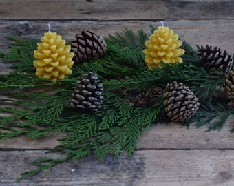 TWO English  beeswax candles in the shape of a pine cone.