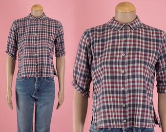 Vintage Plaid Cropped Oxford Shirt (Size Medium)