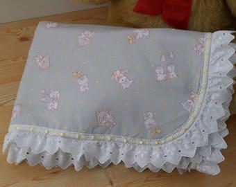 Receiving Blanket,baby blanket,baby shower gift,unisex baby,lace baby blanket,preppy blanket,towel baby blanket,it's a boy,it's a girl