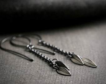 Botanical sterling silver leaf dangle drop earrings