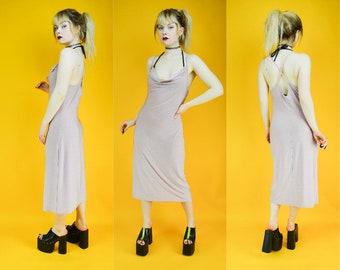 90s Pinky Lilac Cowl Neck Midi Dress M