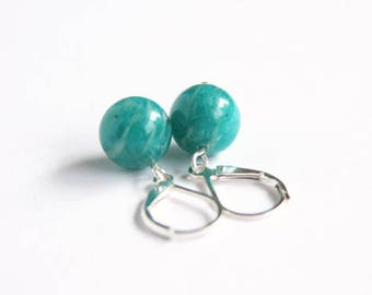 Russian Amazonite Earrings Sterling Silver Teal Blue Peacock Smooth Round Lever Back Leverback Natural Amazonstone Teal Earrings #17615