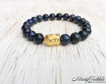 Dumortierite Buddha Bracelet, Gold Buddha, Buddhist Jewelry, Gemstone Bracelet, Wrist Mala, Mala Beads Bracelet, Healing Crystals Bracelet