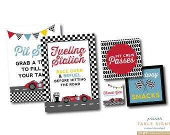 Race Car Table Signs, Pit Stop Sign, Car Birthday Party, Fueling Station Sign, Car Favor Tags, Speedway Signs, INSTANT DOWNLOAD, #53