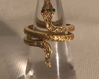 Ring with gemstone 18 k gold snake shape size 53 finger.