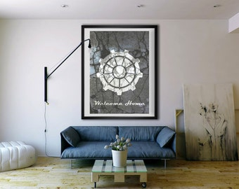 Fallout inspired welcome home, vault door, print, poster, wall art, neutral