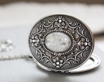 White Fire Opal Locket Necklace