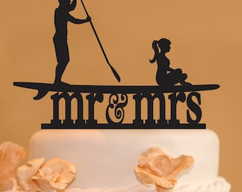 Stand up Paddleboard with Mr. and Mrs. wedding cake topper version 2 - Mr. & Mrs. wedding cake topper -  SUP  stand up paddle board