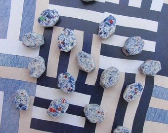 African Beads Tribal Recycled Glass Trade Beads Blue White Beads Natural Exotic Ethnic Rustic Organic Vintage African Trade Beads Handmade