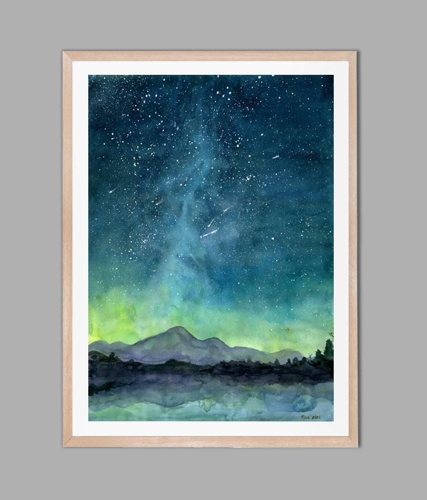 Sternenklaren Himmel Druck Aquarell-Malerei-Druck