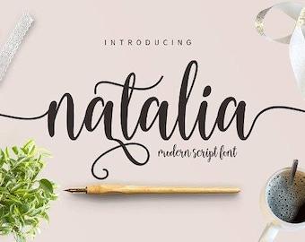 Natalia Fonts Digital font Swirly Font Script Font Digital download swash font Handwritten font calligraphy font wedding font Cricut font