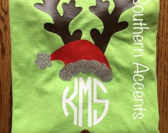 Christmas monogrammed Reindeer shirt personalized!