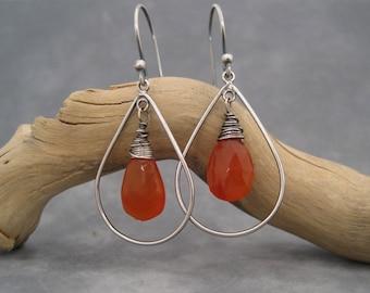 Hoop Earrings - Carnelian Earrings - Silver Hoops - Dark Orange Earrings  - Faceted Stone - Burnt Orange - Fall Jewelry - Autumn Color