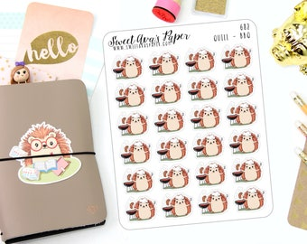 BBQ Stickers - Grill Stickers - Cook Out Stickers - Food Stickers - Hedgehog Stickers - Summer Planner - Character Sticker - 682