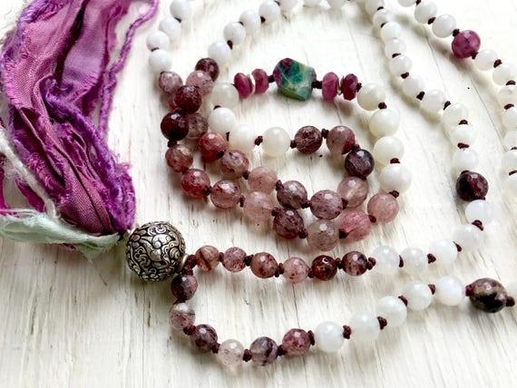 Tibetan Silver Conch Shell Mala Beads / Buddhist Mala Beads /  8 Auspicious Path / Moonstone Mala Beads / Cherry Quartz /  Ruby
